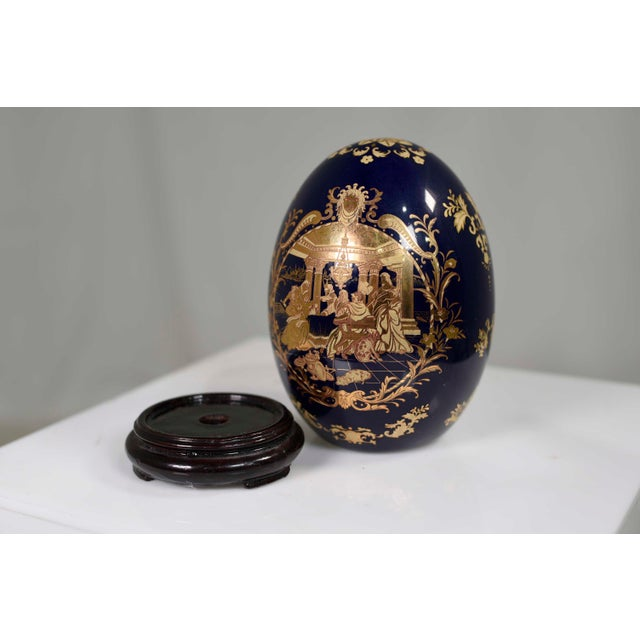 Blue Cobalt Blue and Gold Decorative Egg With Classical Greek Scene Rosewood Base For Sale - Image 8 of 13