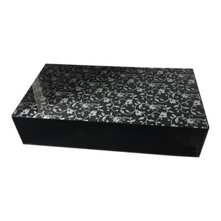 Glas Italia Glass Lacquered Black Silver Floral Tunnel Cocktail Coffee Table