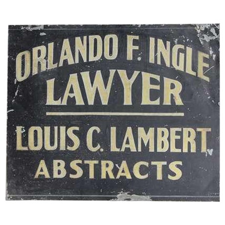 Early 20th C. Vintage Hand painted Tin Trade Sign For Sale
