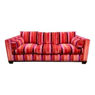 Barbara Barry for Baker Modern Cut Velvet Orange and Purple Sofa For Sale