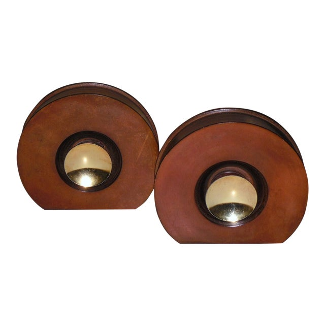 Modernist Round Leather & Brass Bookends - a Pair For Sale