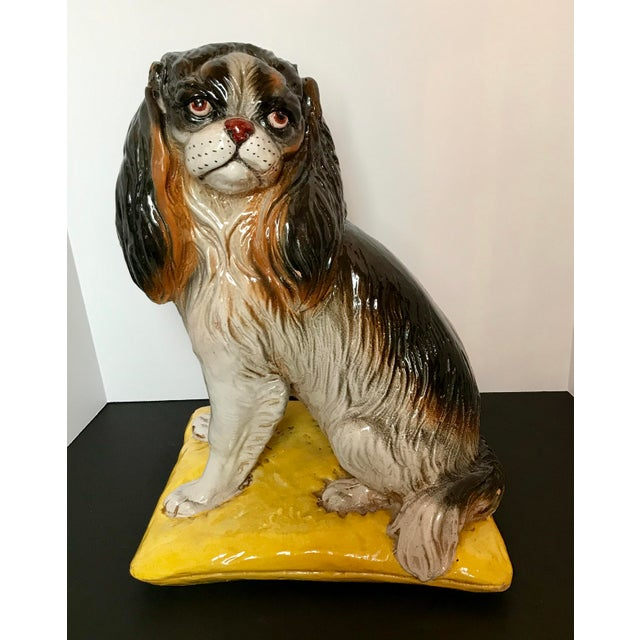 Italian Mid-Century Terracotta Life Size King Charles Spaniel Dog Sculpture For Sale - Image 9 of 9