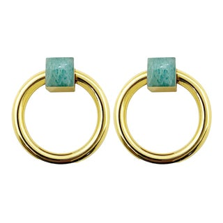 Addison Weeks Porter RIng Pull, Brass & Amazonite - a Pair