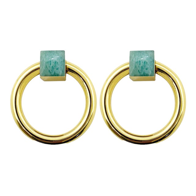 Addison Weeks Porter RIng Pull, Brass & Amazonite - a Pair For Sale