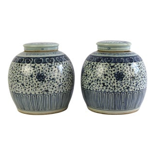 20th Century Shabby Chic Blue and White Ginger Jars - a Pair
