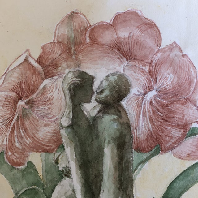 Original Watercolor Painting by Ivy Starr Dancing With Amarillus Flower For Sale - Image 4 of 9