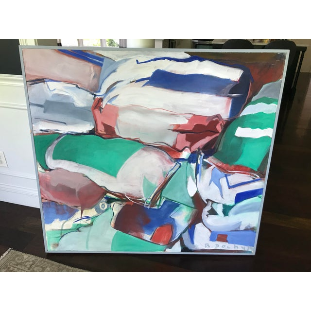 Mid Century Modern Original Abstract Oil Painting on Canvas For Sale - Image 10 of 10