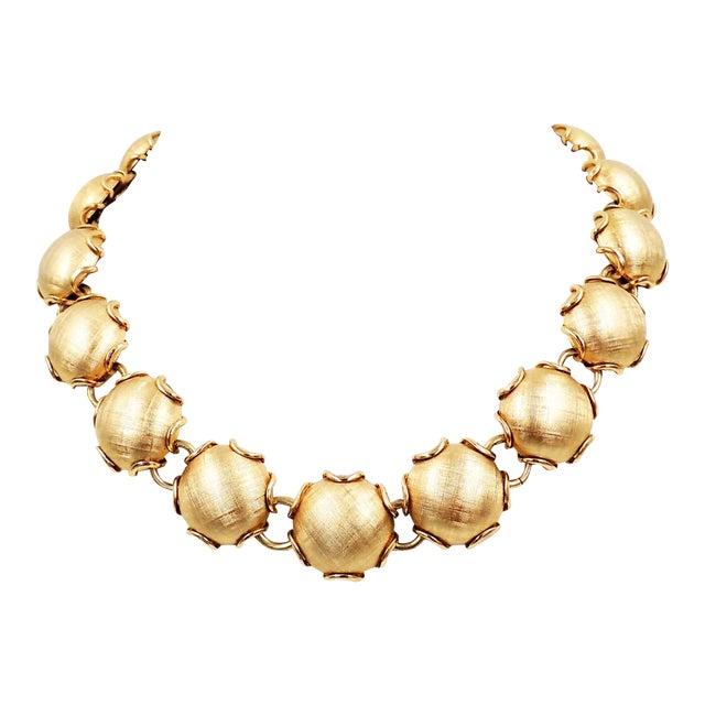 1950s Napier Goldtone Florentine Finish Necklace For Sale