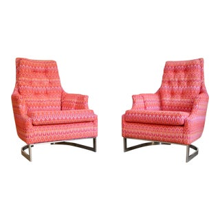 Chrome Milo Baughman Reupholstered Lounge Chairs- A Pair For Sale