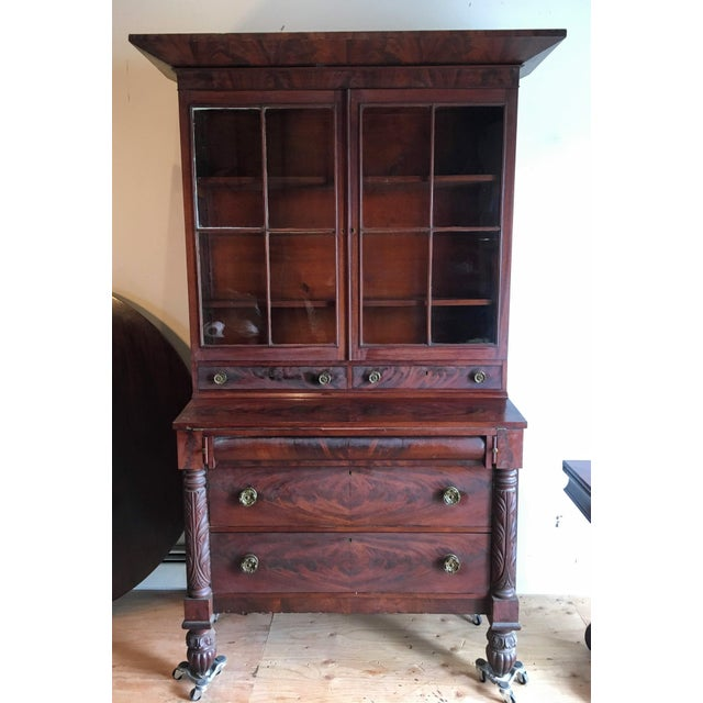 American Empire Secretary With Glass Door For Sale - Image 11 of 11