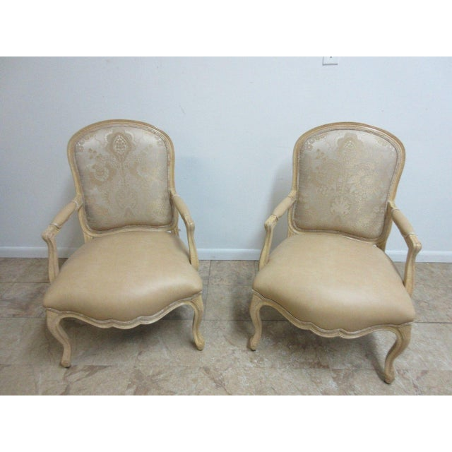 Vintage Louis XV Custom Leather Italian Carved Fireside Lounge Club Chairs - a Pair For Sale - Image 4 of 10