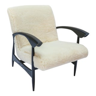 Pair of Custom Black Matte Oak Armchairs in Ivory Wool For Sale