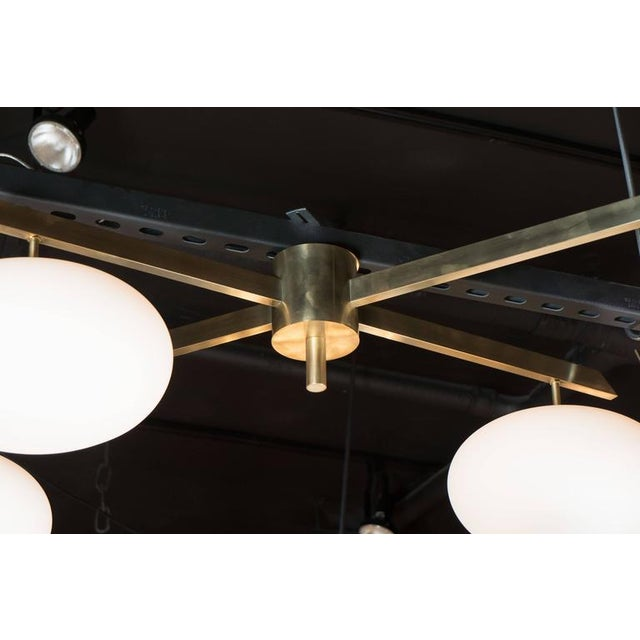 White Brushed Brass & Frosted Glass Four-Arm Globe Chandelier For Sale - Image 8 of 9