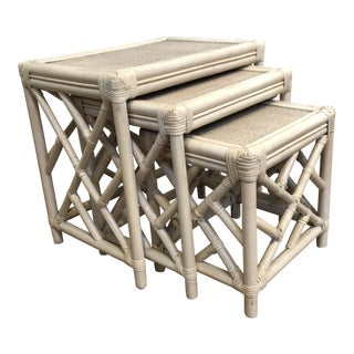 Cerused Rattan Nesting Tables For Sale