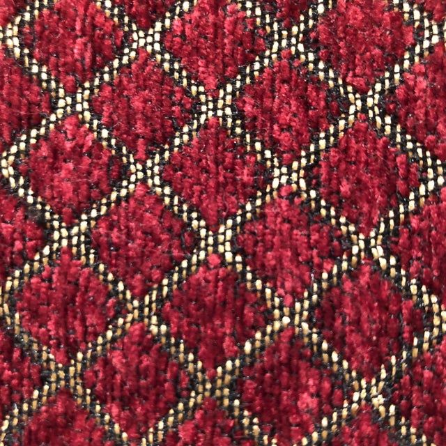 Traditional Burgundy and Gold Velvet Fabric - 1.5 Yards For Sale - Image 3 of 5