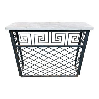 Hand Wrought Iron Greek Key Console For Sale