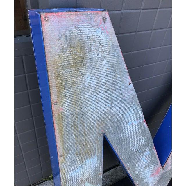 """Large Vintage Blue & White Enamel """"M"""" Building Signage For Sale - Image 11 of 12"""