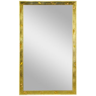 "50"" LaBarge Hand Painted & Gilt Beveled Wall Mirror For Sale"