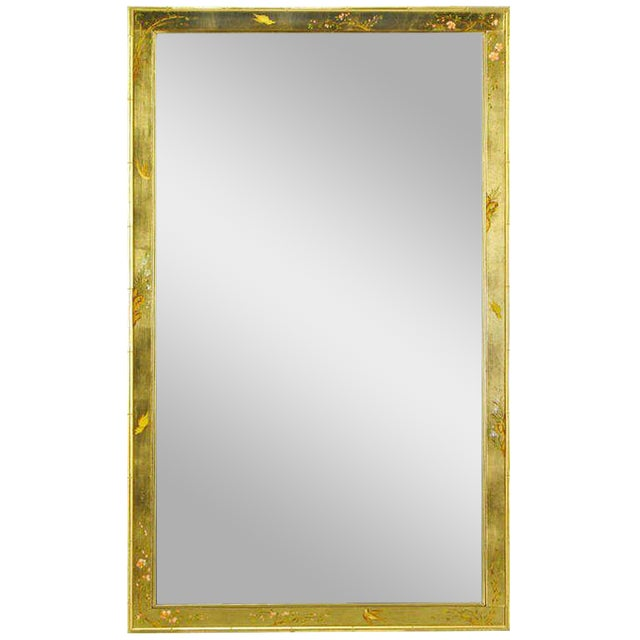 """50"""" LaBarge Hand Painted & Gilt Beveled Wall Mirror For Sale"""