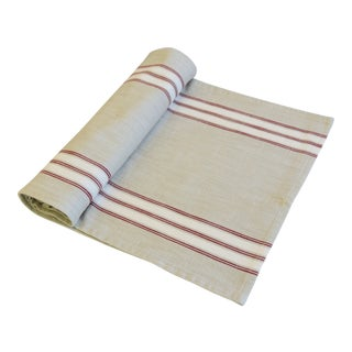 "French Farmhouse Red, White & Cream Striped Table Runner 110"" Long For Sale"