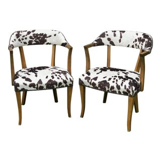 1950s Mid Century Faux Cowhide Chairs- a Pair For Sale