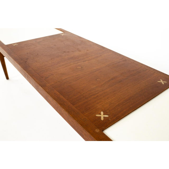 Merton Gershun for American of Martinsville Mid Century X Inlaid Walnut and White Laminate Coffee Table For Sale - Image 10 of 12
