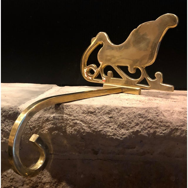 Traditional Vintage Brass Stocking Hanger Christmas Hook Holiday Sleigh For Sale - Image 3 of 6