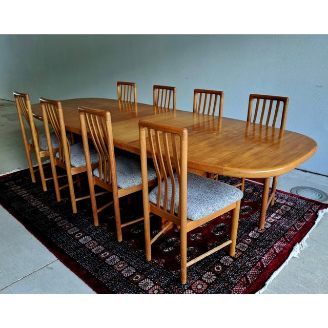 1970s Danish Modern Teak Dining Table + 8 Chairs For Sale - Image 13 of 13