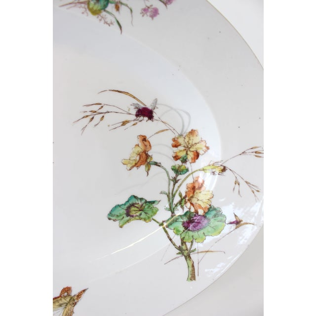 Rustic Limoges Delinieres & Co Porcelain With Floral Design Serving Platter from Late 1800s For Sale - Image 3 of 12