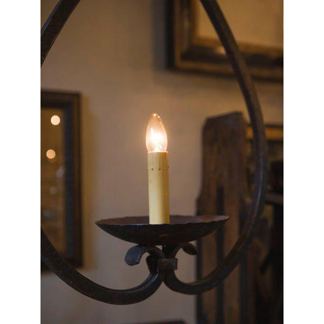 """Custom """"Mahoning"""" Hand-Forged, Large Wrought-Iron Pendant For Sale - Image 9 of 11"""