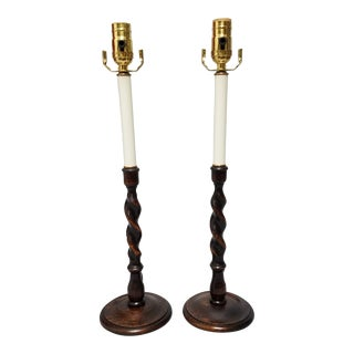 19th Century Barley Twist Candlestick Lamps - A Pair For Sale