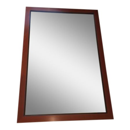 Custom Made Mahogany Framed Beveled Wall Mirror For Sale