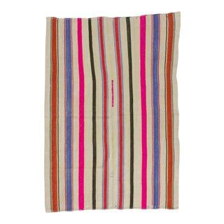 Vintage Colorful Striped Turkish Kilim Rug - 5′4″ × 7′8″ For Sale