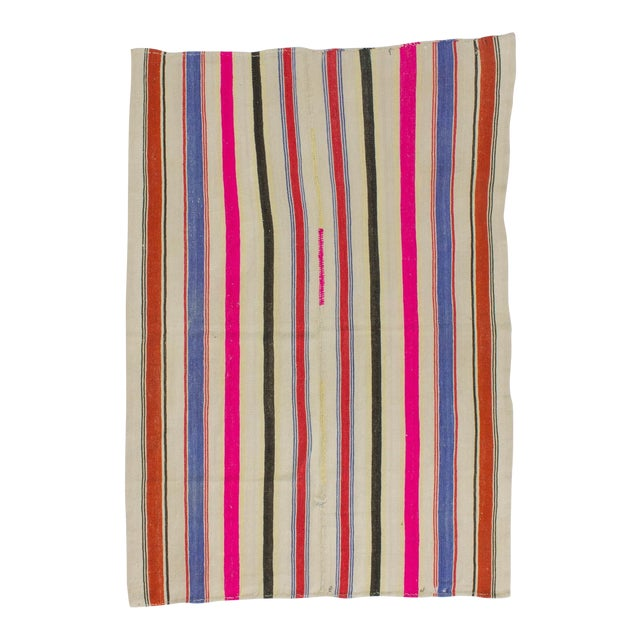 Vintage Colorful Striped Turkish Kilim Rug - 5′4″ × 7′8″ - Image 1 of 6