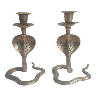 A Pair- Vintage Brass Enameled King Cobra Snakes Candle Holders