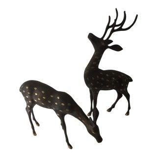1960s Vintage Bronze Deer Figurines - A Pair For Sale