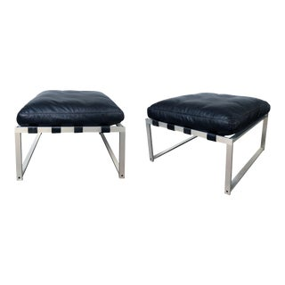Jørgen Høj (Danish, 1925–1994) Aluminum Stools/Benches With Black Leather Cushions - a Pair For Sale