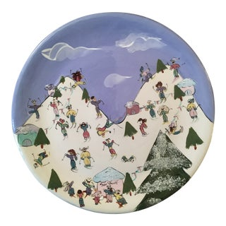 Vintage Pottery Large Plate Platter Sun Valley Idaho Snow Skiing For Sale