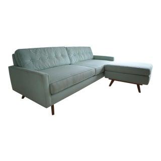 Mid-Century Modern Aqua Fabric Sofa & Ottoman - Set of 2