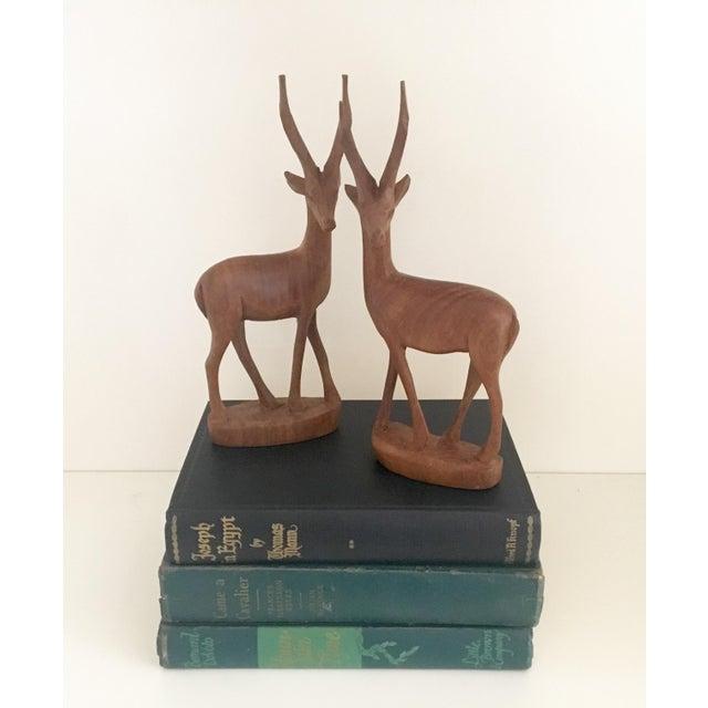 Mid-Century Wood Gazelles - A Pair - Image 2 of 5