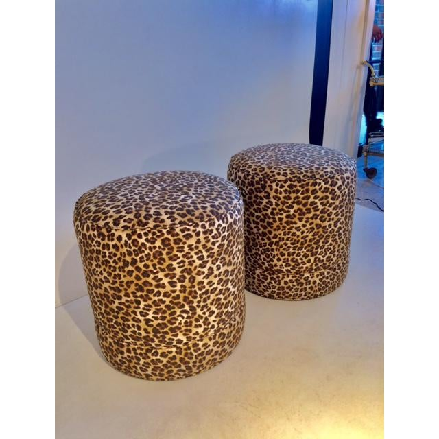 Hollywood Regency Todd Hase Namesake Leopard Print Ruth Drum Ottomans- A Pair For Sale - Image 3 of 13