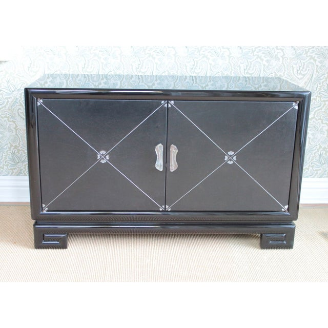Grosfeld House Leather-Detailed Occasional Cabinet - Image 2 of 9