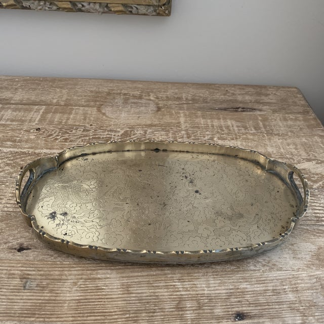 Small Chinese Brass Dragon Tray