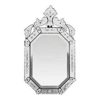Italian 1940s Octagonal Venetian Mirror with Decorative Etching