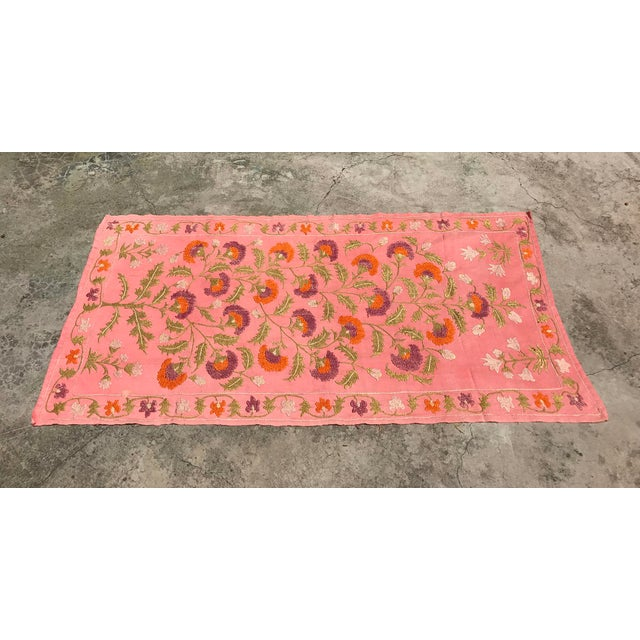 Pink Silk on Cotton Floral Table Runner - Image 5 of 6