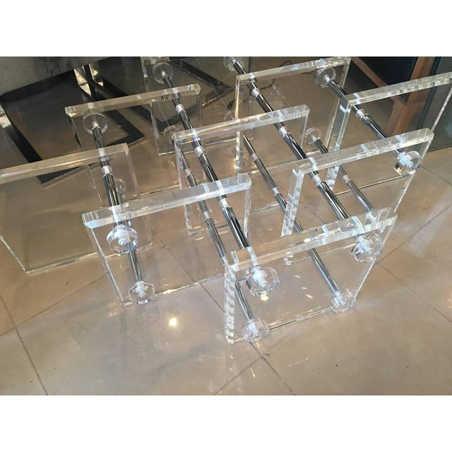 Hollywood Regency Lucite and Chrome Coffee Cocktail Table - Image 4 of 12