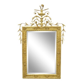 Friedman Brothers Large Gold Gilt Adams Style Beveled Glass Wall Mirror For Sale