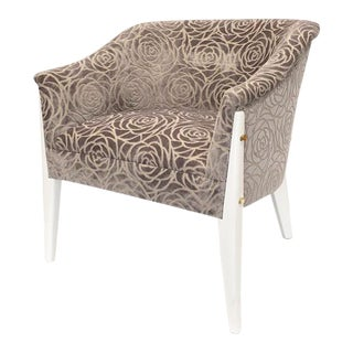 Lacquered Frame Cut Velvet Chair For Sale