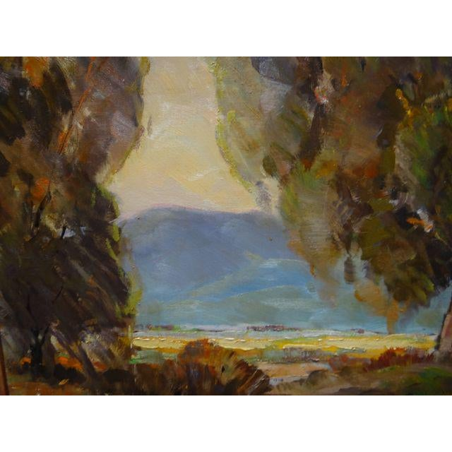 """Canvas 1950s Vintage Walt Lee """"After the Rain"""" Oil on Canvas Painting For Sale - Image 7 of 9"""