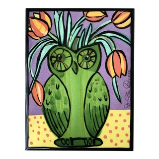 """Owl Vase"" Ceramic Tile For Sale"